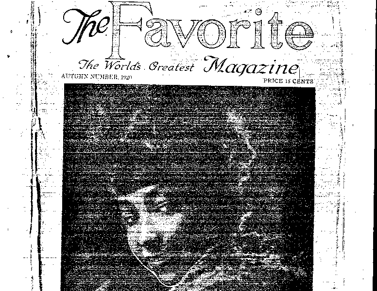 Cover Page. The Favorite Magazine. August 1920.