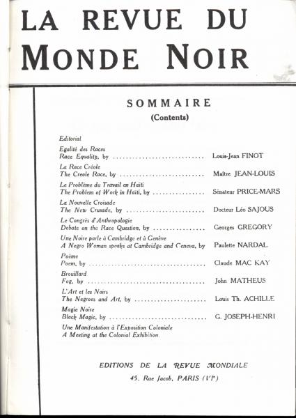 La Revue du monde noir. (November 1931 Table of Contents). Jean-Michel Place, 1992. Print.