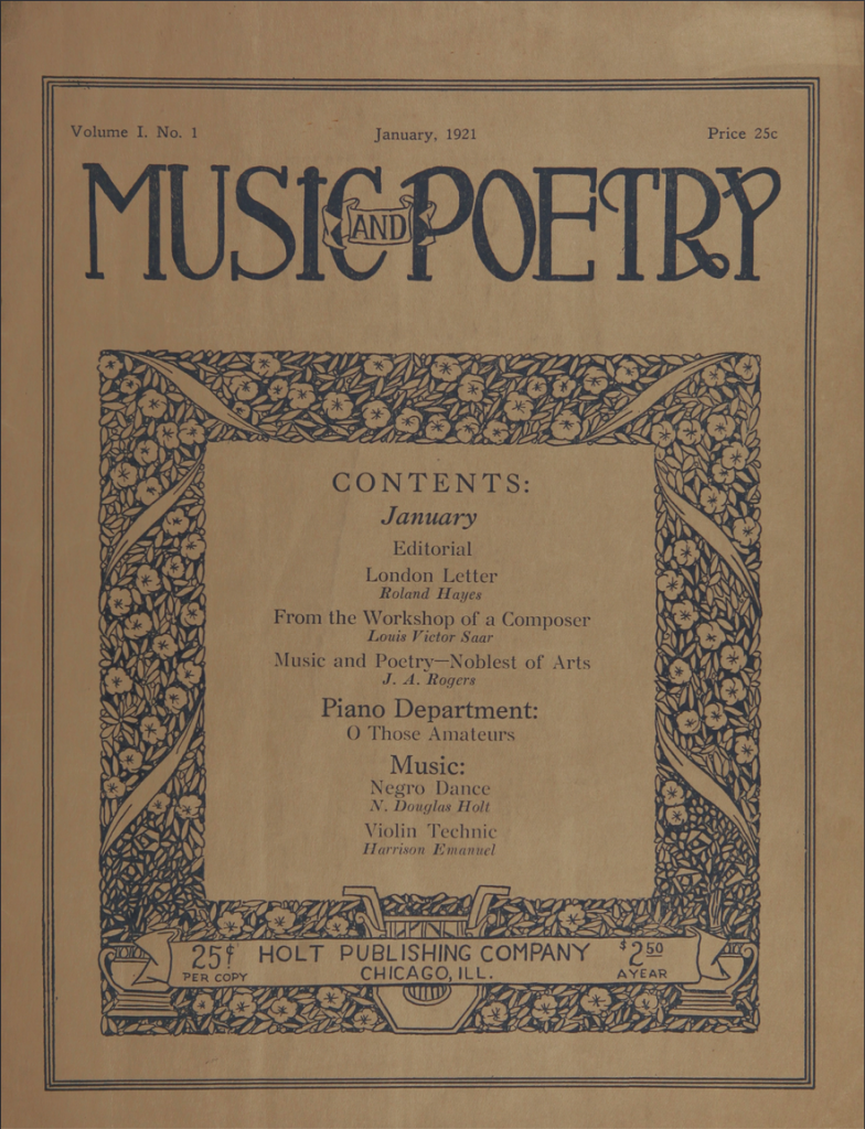 cover of music and poetry vol. 1 no. 1